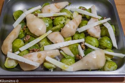 Photo de recette de poires, choux de Bruxelles, pécorino, polat végétarien, facile, rapide, healthy, léger de Kilomètre-0, blog de cuisine réalisée à partir de produits de saison et issus de circuits courts