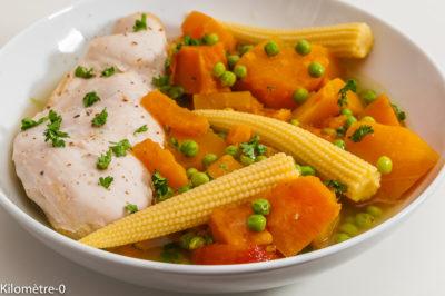 Photo de recette facile d'Aruba, poulet, poule au pot, rapide, légumes, courge, patate douce, pois, maïs, cuisine arubienne,  Kilomètre-0, blog de cuisine réalisée à partir de produits de saison et issus de circuits courts