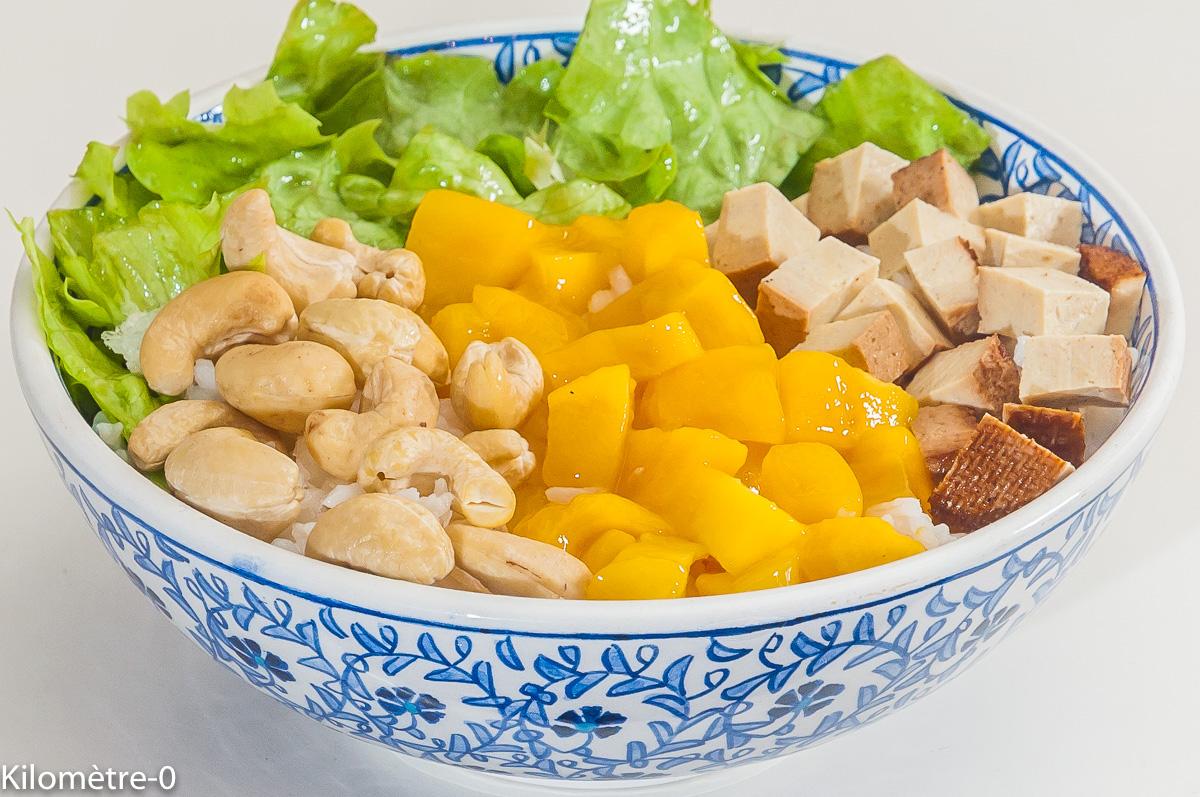 Photo de recette végétarienne, healthy, riz, noix de cajou, mangue, tofu fumé, facile, rapide, de de Kilomètre-0, blog de cuisine réalisée à partir de produits de saison et issus de circuits courts