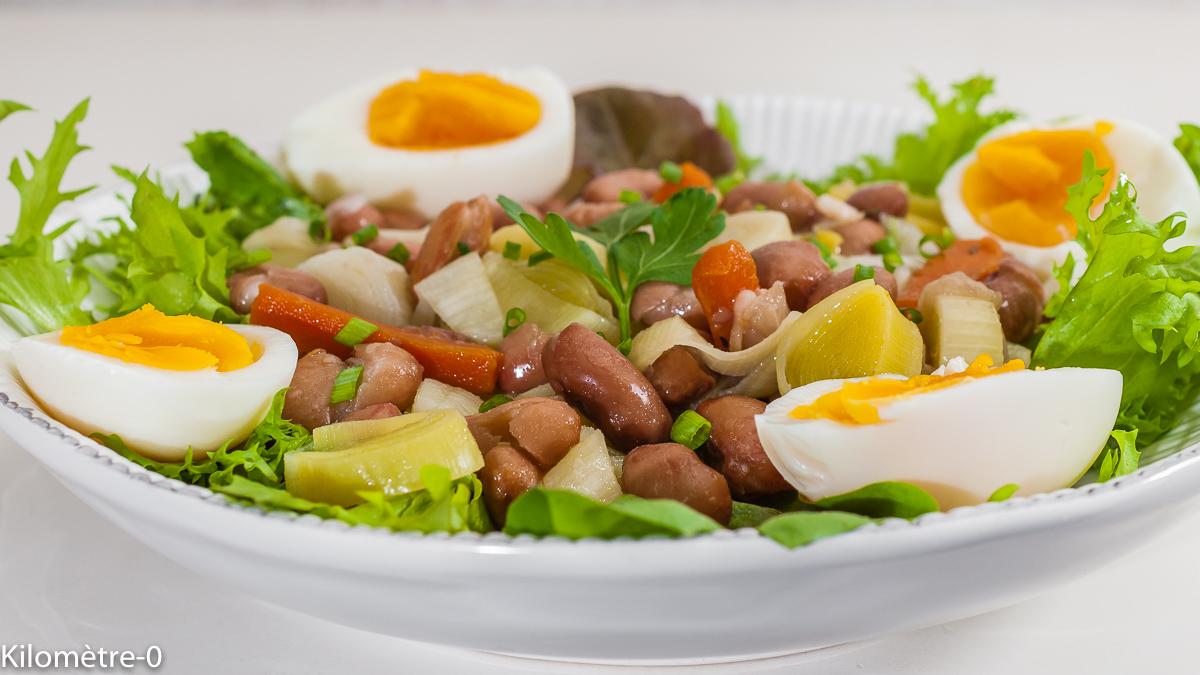 Photo de recette de salade de haricots blancs, oeufs, végétarienne, healthy, facile, rapide, poireaux légumes, bio de Kilomètre-0, blog de cuisine réalisée à partir de produits de saison et issus de circuits courts
