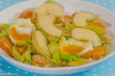 Photo de recette facile et rapoide, de fruits, pommes, clémentines, oeufs, légère, végétarienne, healthy, bio de Kilomètre-0, blog de cuisine réalisée à partir de produits de saison et issus de circuits courts