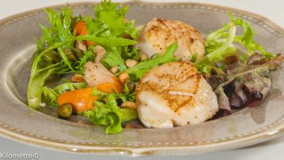 Photo de recette de saint jacques facile, rapide, légère, healthy,  de Kilomètre-0, blog de cuisine réalisée à partir de produits de saison et issus de circuits courts