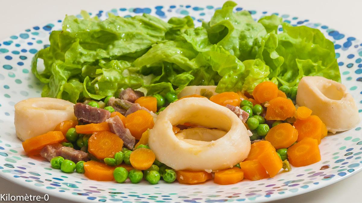 Photo de recette de calamars, poisson, légumes de printemps, petits pois, carottes, healthy, légers, facile, rapide, de Kilomètre-0, blog de cuisine réalisée à partir de produits de saison et issus de circuits courts