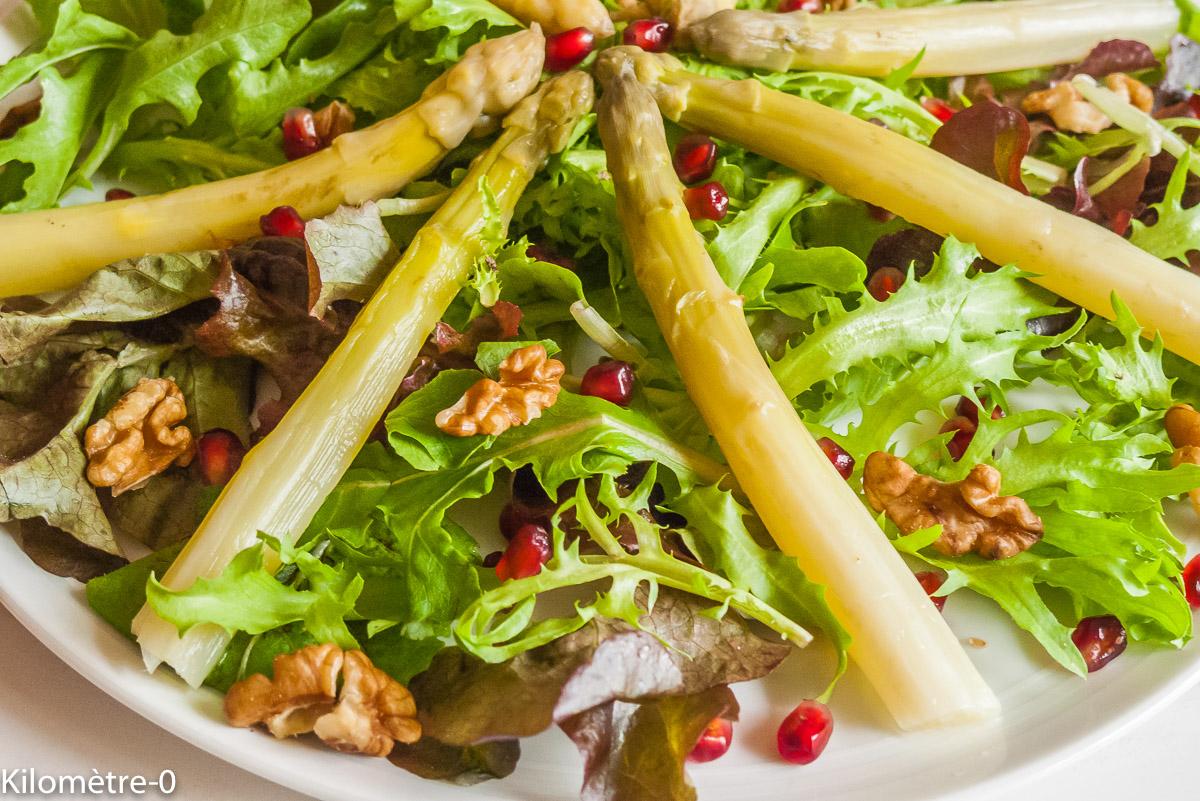 Photo de recette de salade d'asperges, grenade, noix, facile, végétarienne, rapide, four vapeur, printemps, Kilomètre-0, blog de cuisine réalisée à partir de produits de saison et issus de circuits courts