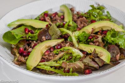Photo de recette de salade d'avocats, thon, grenade, mesclun, healthy,  Kilomètre-0, blog de cuisine réalisée à partir de produits de saison et issus de circuits courts