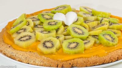 Photo de recette de sablés, kiwis, crème d'abricot, facile, healthy, fruits, léger, amandes de  Kilomètre-0, blog de cuisine réalisée à partir de produits de saison et issus de circuits courts