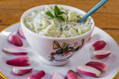 Photo de recette de dip de yaourt au concombre et radis, facile, bio, rapide, léger, végétarien, healthy, léger, Kilomètre-0, blog de cuisine réalisée à partir de produits de saison et issus de circuits courts