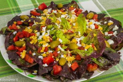Photo de recette de laitue estivale, tomates, olives, oeufs, légère, cuisine facile, originale,bio  de Kilomètre-0, blog de cuisine réalisée à partir de produits de saison et issus de circuits courts