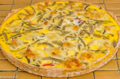 Photo de recette de tarte salée, été, haricots verts, tomates, facile, pizza, biio de  Kilomètre-0, blog de cuisine réalisée à partir de produits de saison et issus de circuits courts