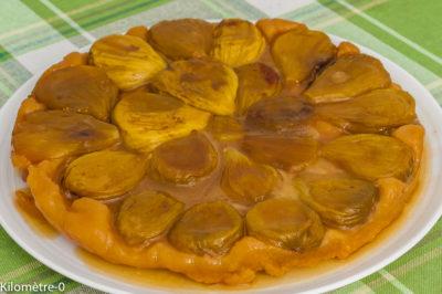 Photo de recette de tarte tatin aux figues facile, bio, rapide, légère de Kilomètre-0, blog de cuisine réalisée à partir de produits de saison et issus de circuits courts