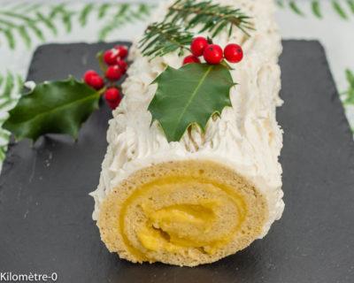 Photo de recette de bûche au lemon curd, citron, Noël, biscuit roulé, mascarpone, dessert, gâteau, bio,  Kilomètre-0, blog de cuisine réalisée à partir de produits de saison et issus de circuits courts