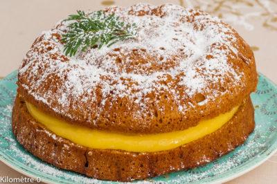 Photo de recette de gâteau victoria au lemon curd, lemon curd, citron, crème, farine de petit épeautre, dessert, gâteau fourré, bio, rapide, facile de  Kilomètre-0, blog de cuisine réalisée à partir de produits de saison et issus de circuits courts