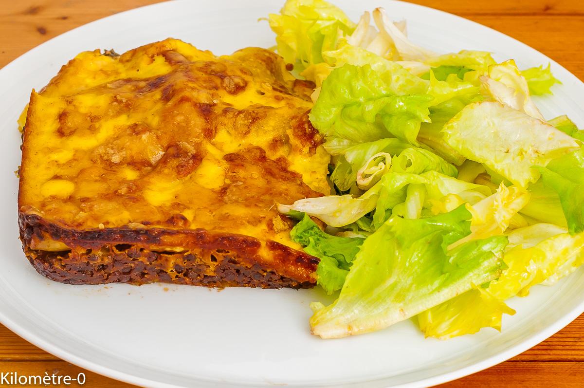 Photo de recette de lasagnes aux lentilles, épinards, salade, anti gaspi, économique, fromage, béchamel, italienne de Kilomètre-0, blog de cuisine réalisée à partir de produits de saison et issus de circuits courts