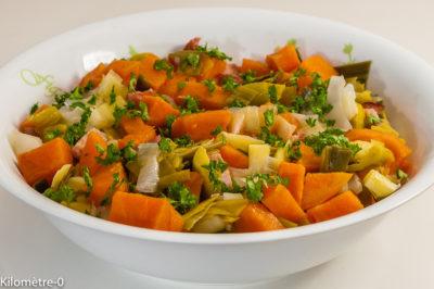 Photo de recette de Salade de légumes d'hiver, poireaux, patate douce, lardons, facile, healthy, bio de Kilomètre-0, blog de cuisine réalisée à partir de produits de saison et issus de circuits courts