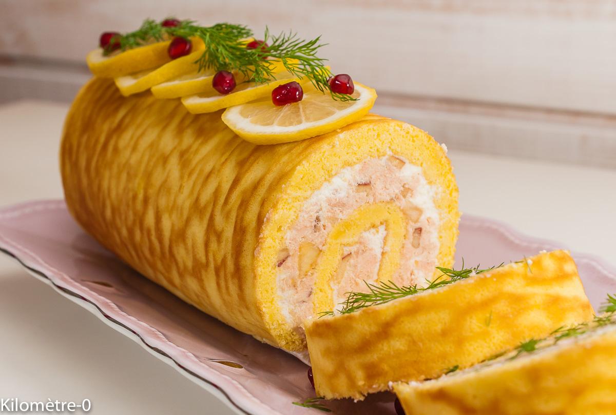 Photo de recette de bûche salée au saumon, rillettes de saumon, poisson, facile, Noël, Kilomètre-0, blog de cuisine réalisée à partir de produits de saison et issus de circuits courts