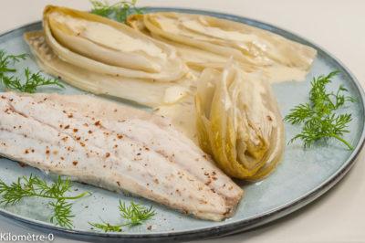 Photo de recette de poisson, bar, endives, crème, facile, léger, rapide, four vapeur, Kilomètre-0, blog de cuisine réalisée à partir de produits de saison et issus de circuits courts