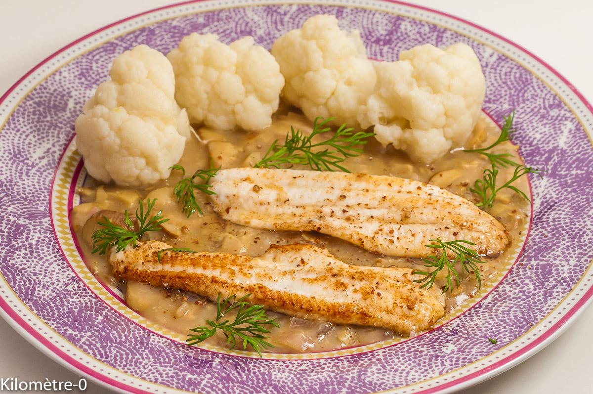 Photo de recette de sole, poisson, sauce au cidre, chou, chou fleur, léger, facile,  Kilomètre-0, blog de cuisine réalisée à partir de produits de saison et issus de circuits courts