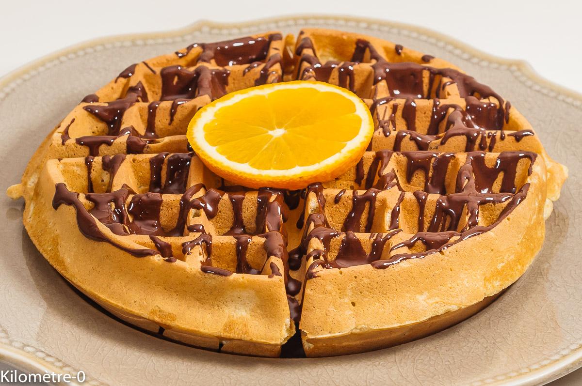 Photo de recette de gaufres au chocolat, orange, chandeleur, facile, rapide, évconomique, bio de Kilomètre-0, blog de cuisine réalisée à partir de produits de saison et issus de circuits courts