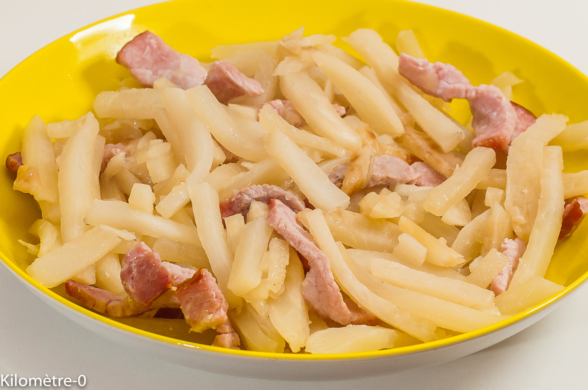 Photo de recette de poêlée, radis noir, radis, bacon, facile, rapide, healthy,  Kilomètre-0, blog de cuisine réalisée à partir de produits de saison et issus de circuits courts