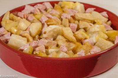 Photo de recette de gratin, légumes, hiver, céleri, jambon, tomme, bio, Kilomètre-0, blog de cuisine réalisée à partir de produits de saison et issus de circuits courts