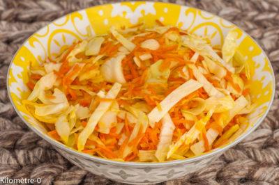 Photo de recette végétarienne, salade, carottes, légumes crus, chou blanc, facile, léger, bio, rapide, healthy,  de Kilomètre-0, blog de cuisine réalisée à partir de produits de saison et issus de circuits courts