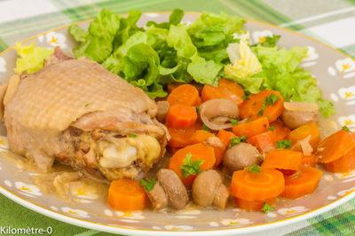 Photo de recette de poulet, carottes, champignons, facile, de Kilomètre-0, blog de cuisine réalisée à partir de produits de saison et issus de circuits courts