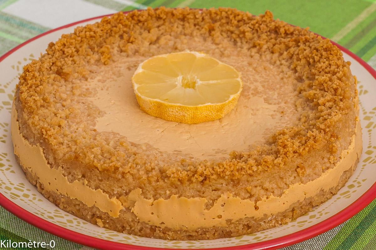 Photo de recette de Key lime pie, gâteau, dessert, lait concentré, citron, flan, facile, spéculoos, rapide, Kilomètre-0, blog de cuisine réalisée à partir de produits de saison et issus de circuits courts