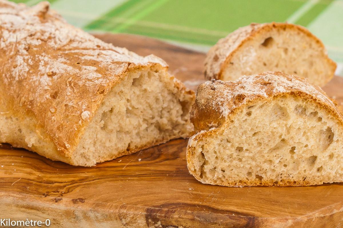 Photo de recette de pain, rapide, sans pétrissage, facile, bio, baguette maison, heathy, Kilomètre-0, blog de cuisine réalisée à partir de produits de saison et issus de circuits courts