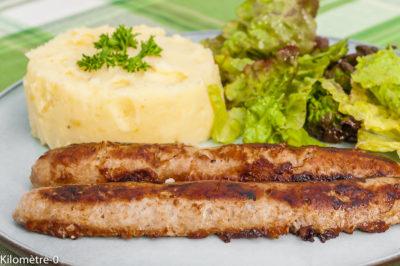 Photo de recette de saucisse, purée, viande, grillade, facile, base, économique,  Kilomètre-0, blog de cuisine réalisée à partir de produits de saison et issus de circuits courts