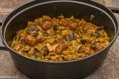 Photo de recette de curry, aubergines, cuisine ivoirienne, Côte d'Ivoire, africaine, cuisine du monde, légumes, été, boulettes, lait de coco, épices, bio, facile, mijoté, léger,  Kilomètre-0, blog de cuisine réalisée à partir de produits de saison et issus de circuits courts