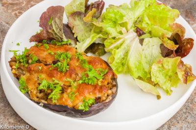 Photo de recette marocaine, aubergine, légumes farcis, été, automne, pois chiche, végétarien, healthy, de Kilomètre-0, blog de cuisine réalisée à partir de produits de saison et issus de circuits courts