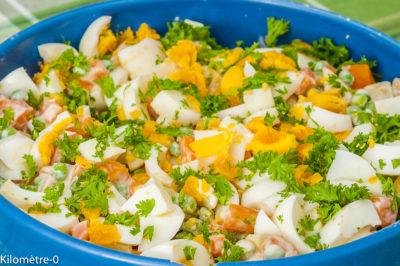 Photo de recette de salade, salade composée, légumes, printemps, été, oeufs, carottes, petits pois, frais, léger, végétarien, healthy, bio de Kilomètre-0, blog de cuisine réalisée à partir de produits de saison et issus de circuits courts