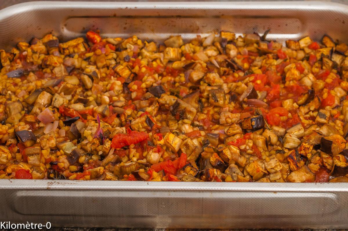 Photo de recette de moussaka, cuisine du monde, cuisine libanaise, Liban, aubergines, pois chiche, facile, bio, Kilomètre-0, blog de cuisine réalisée à partir de produits de saison et issus de circuits courts