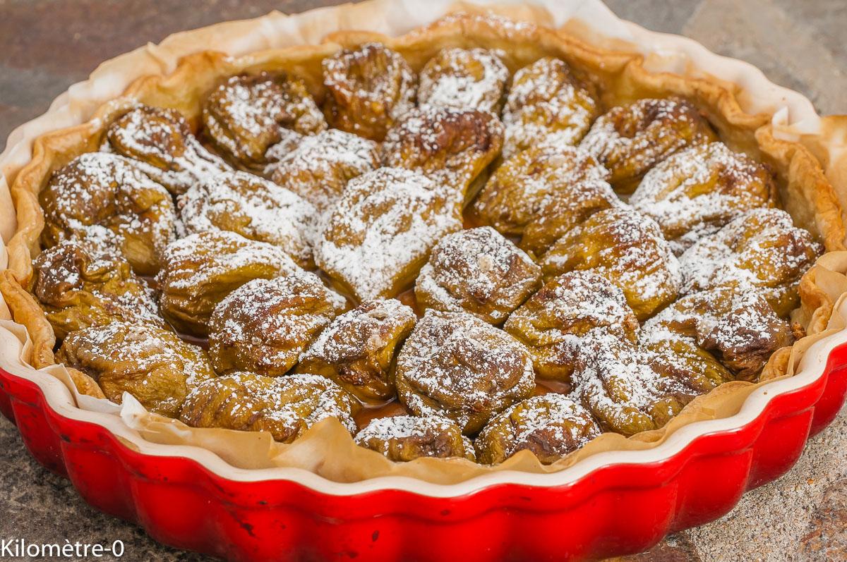 Photo de recette de tarte facile, figues, sucre, bio, rapide, été,  Kilomètre-0, blog de cuisine réalisée à partir de produits de saison et issus de circuits courts