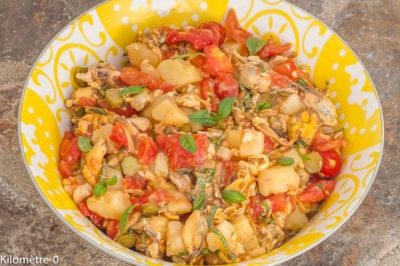 Photo de recette de salade de moules, égumes, été, automne, pomme de terre, tomates, facile, healthy, léger de Kilomètre-0, blog de cuisine réalisée à partir de produits de saison et issus de circuits courts