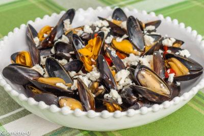 Photo de recette de moules, mollusques, fêta, poivrons, légumes, facile, légère, Kilomètre-0, blog de cuisine réalisée à partir de produits de saison et issus de circuits courts