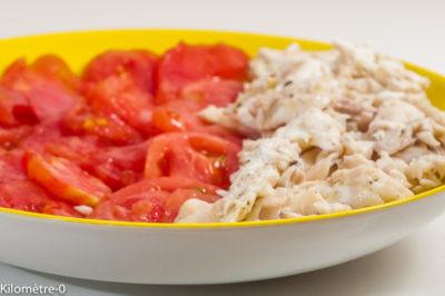 Photo de recette de salade, poisson, daurade, dorade, tomates, léger, facile, healthy, rapide, four vapeur Kilomètre-0, blog de cuisine réalisée à partir de produits de saison et issus de circuits courts