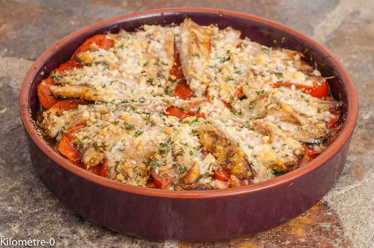 Photo de recette de tian, sardines, tomate, parmesan, heathy, poisson, facile, Kilomètre-0, blog de cuisine réalisée à partir de produits de saison et issus de circuits courts