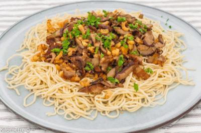 Photo de recette de nouilles chinoises, champignons, cèpes, crustacés, crevettes, healthy, léger, bio Kilomètre-0, blog de cuisine réalisée à partir de produits de saison et issus de circuits courts