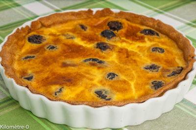 Photo de recette de dessert, pruneaux, bio, facile, flan, far, laitage, tarte aux pruneaux de Kilomètre-0, blog de cuisine réalisée à partir de produits de saison et issus de circuits courts