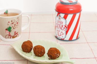 Photo de recette de truffes, Noël, châtaignes, chocolat, bouchées de Kilomètre-0, blog de cuisine réalisée à partir de produits de saison et issus de circuits courts
