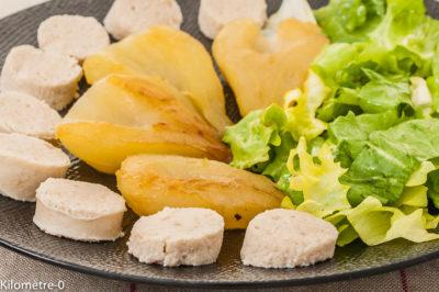 Photo de recette de boudin, poires, fruits, boudin blanc, Noël, facile, rapide, Kilomètre-0, blog de cuisine réalisée à partir de produits de saison et issus de circuits courts