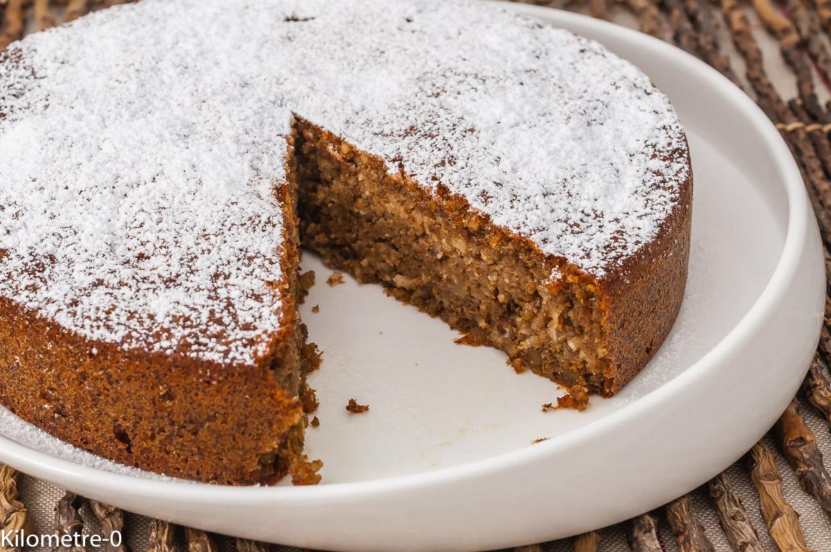 Photo de recette de gâteau, dessert, noix, fondant, simple, rapide, beurre, bio, de  Kilomètre-0, blog de cuisine réalisée à partir de produits de saison et issus de circuits courts