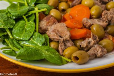 Photo de recette, mijoté de sanglier, retour de chasse, gibier, olives, carottes, facile, gingembre de Kilomètre-0, blog de cuisine réalisée à partir de produits de saison et issus de circuits courts