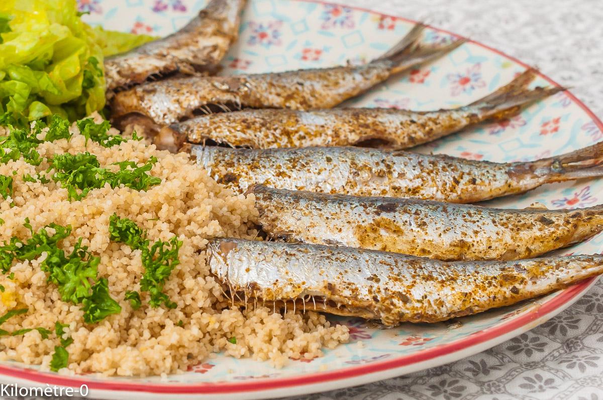 Photo de recette de sardines, poisson bleu, printemps, été, semoule, facile, épices, marocaine, Maroc, poisson, rapide, semouleKilomètre-0, blog de cuisine réalisée à partir de produits de saison et issus de circuits courts