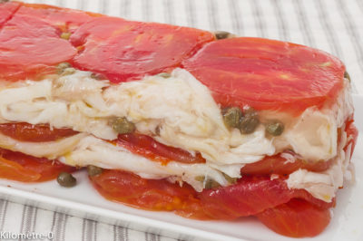 Photo de recette de terrine, facile, raie, poisson, tomates, câpres, facile, rapide, deKilomètre-0, blog de cuisine réalisée à partir de produits de saison et issus de circuits courts