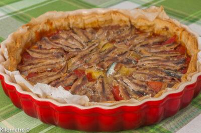 Photo de recette de tarte, tomates, été, automne, tarte salée, poissons, poisson bleu, sardines, Kilomètre-0, blog de cuisine réalisée à partir de produits de saison et issus de circuits courts