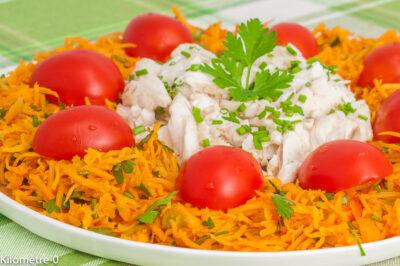 Photo de recette de salade, poisson, bar, loup de mer, carottes, crudités, tomates, facile, rapide, léger, été, Kilomètre-0, blog de cuisine réalisée à partir de produits de saison et issus de circuits courts