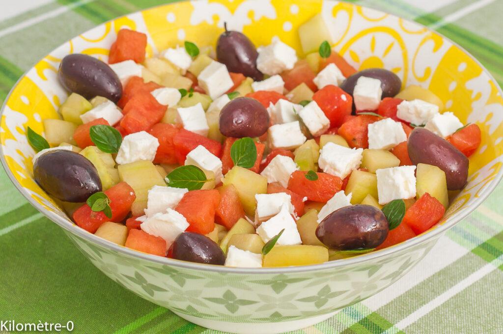 Salade grecque pastèque, concombre, fêta