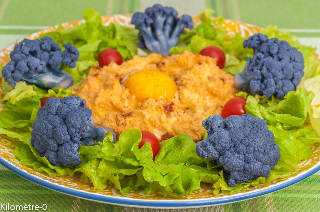 Oeufs nuage au chorizo, salade de chou fleur
